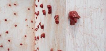 Los Carpinteros, 'Tomates' (detalle) , 2013. Tomates, acuarela y porcelana. Medidas variables. Foto: Jason Wyche. Cortesía de Sean Kelly Gallery, New York and Ivorypress, Madrid. © Los Carpinteros
